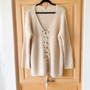 Cream lace up knit sweater